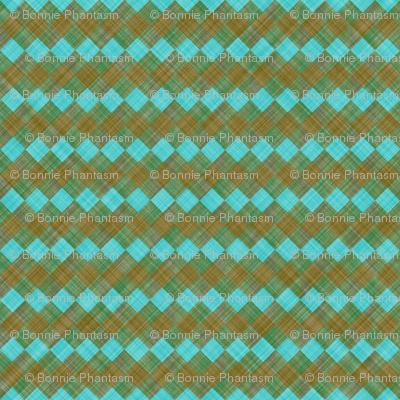 Argyle Checker Plaid Linen - Brown Turquoise