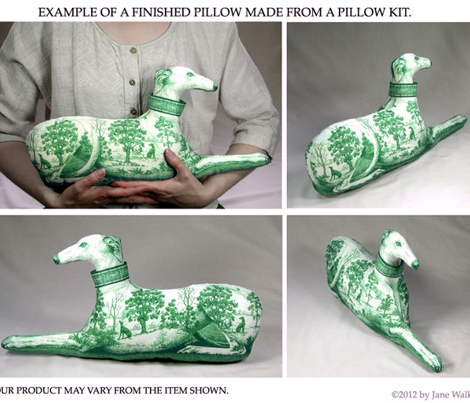 Toile Greyhound in green, pillow kit - female