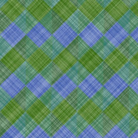 Argyle Checker Plaid Linen - Green Blue fabric by bonnie_phantasm on Spoonflower - custom fabric