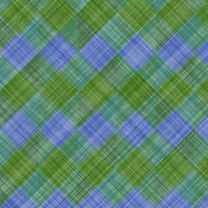 Argyle Checker Plaid Linen - Green Blue