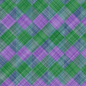 Argyle Checker Plaid Linen - Lavender Green