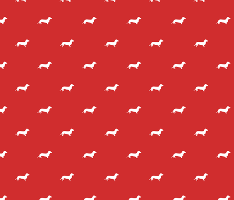 Dachshund Dots Red fabric by ben_goetting on Spoonflower - custom fabric