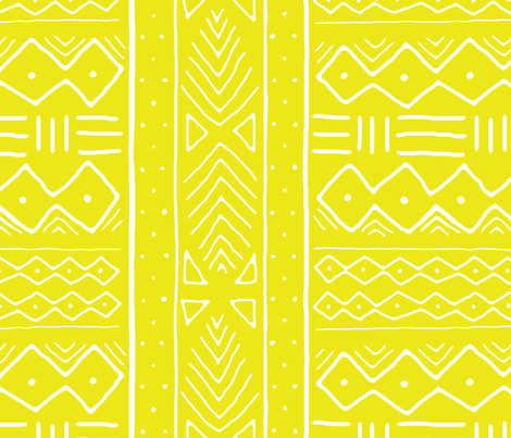 Mudcloth in citron fabric by domesticate on Spoonflower - custom fabric