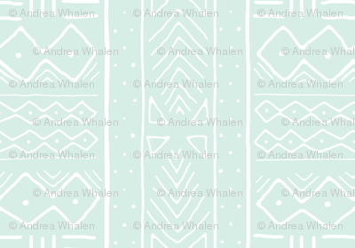 Mudcloth in white on mint