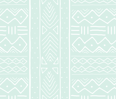 Mudcloth in white on mint fabric by domesticate on Spoonflower - custom fabric