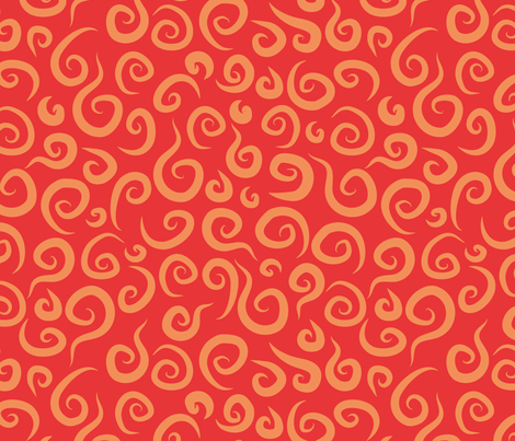 Whimsical Red Swirls fabric by joyfulroots on Spoonflower - custom fabric
