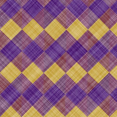Argyle Checker Plaid Linen - Purple Yellow fabric by bonnie_phantasm on Spoonflower - custom fabric
