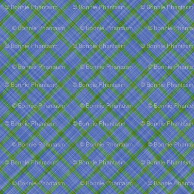 Grid Plaid Linen - Green Blue