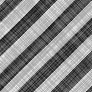 Diagonal Linen Stripe - Black White