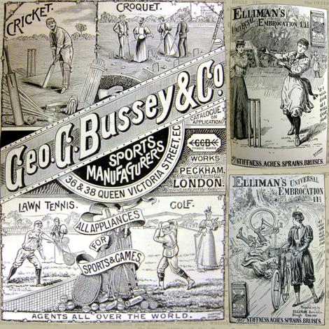 1890's Sports Ads: Newsprint Large fabric by callioperosehandcarjones on Spoonflower - custom fabric