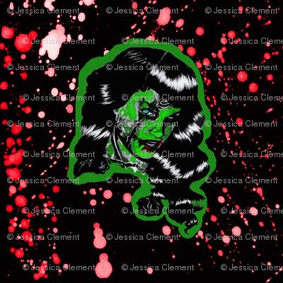 Blood Splatter Zombie Bettie Page