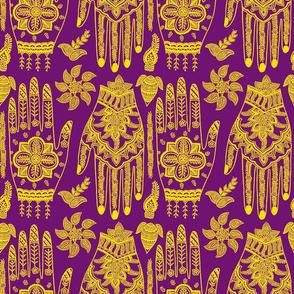 Mehndi-yellow on purple