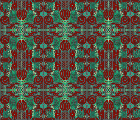 Flashback, red and turquoise on grey fabric by sophista-tiki_by_dawn_frasier on Spoonflower - custom fabric