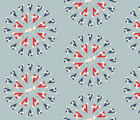 Victory V round repeated - 1940s inspired fabric by eloise_varin on Spoonflower - custom fabric