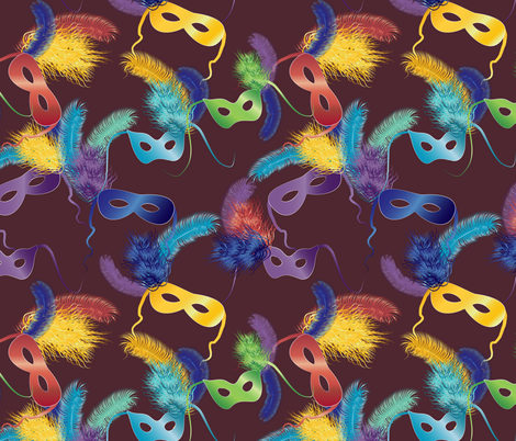Mardi Gras masks on brown fabric by kociara on Spoonflower - custom fabric