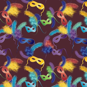 Mardi Gras masks on brown