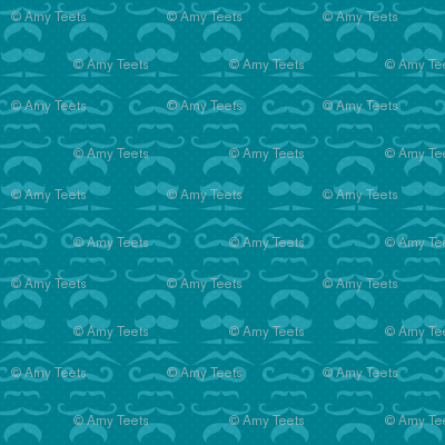 Teal Mustache Fabric