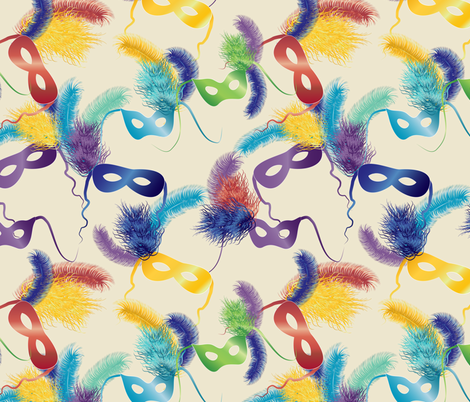 Mardi Gras masks on cream fabric by kociara on Spoonflower - custom fabric