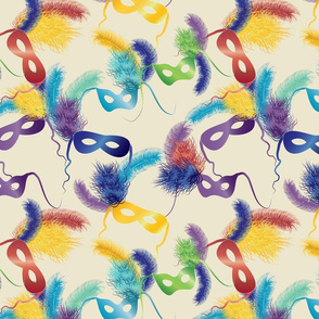 Mardi Gras masks on cream