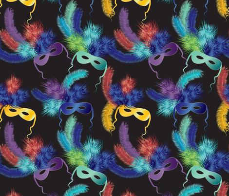 Mardi Gras masks 2 fabric by kociara on Spoonflower - custom fabric