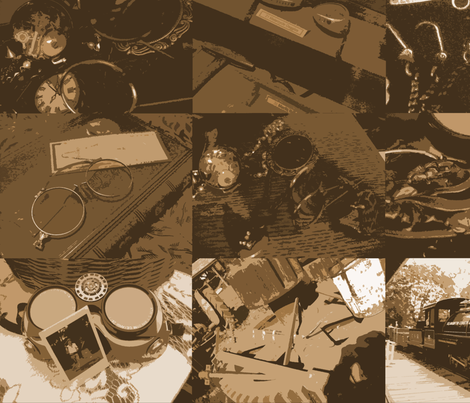 Steampunk Objects : Flattened Sepia Large fabric by callioperosehandcarjones on Spoonflower - custom fabric