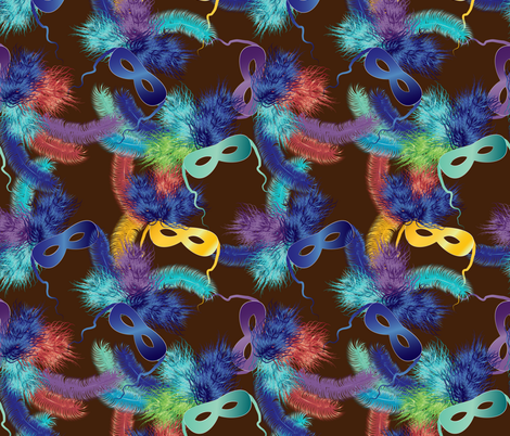 Mardi Gras masks 2 on brown fabric by kociara on Spoonflower - custom fabric