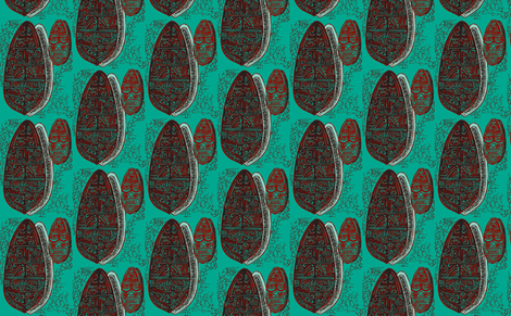 The Polynesian with tiki, red on turquoise fabric by sophista-tiki_by_dawn_frasier on Spoonflower - custom fabric