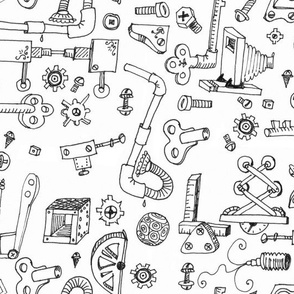 Steampunk Parts: Hand-drawn Black