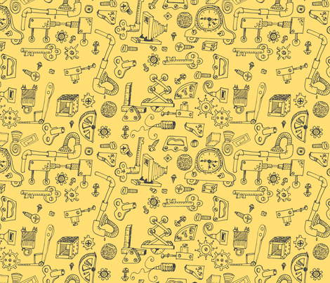 Steampunk Parts: Hand-drawn Black  fabric by callioperosehandcarjones on Spoonflower - custom fabric