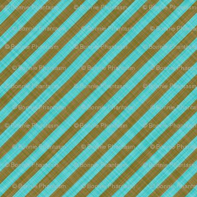 Diagonal Linen Stripe - Brown Turquoise