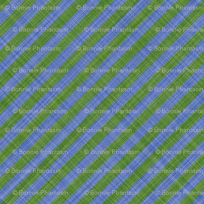 Diagonal Linen Stripe - Green Blue