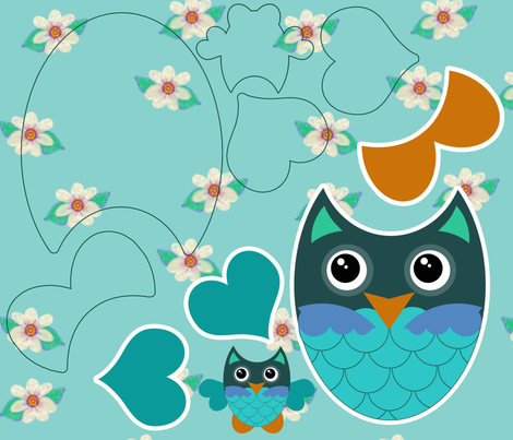 Owl Sewing Kit Turquoise Floral fabric by cherie on Spoonflower - custom fabric