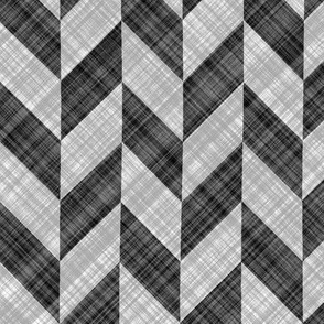 Chevron Linen - Zigzag Alternate - Black White