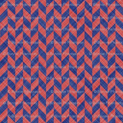 Chevron Linen - Zigzag Alternate - Blue Red