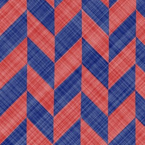 Chevron Linen - Zigzag Alternate - Blue Red