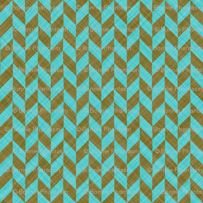 Chevron Linen - Zigzag Alternate - Brown Turquoise