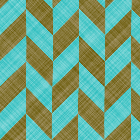 Chevron Linen - Zigzag Alternate - Brown Turquoise fabric by bonnie_phantasm on Spoonflower - custom fabric