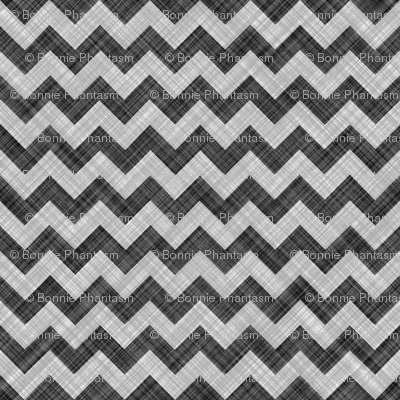 Chevron Linen - ZigZag - Black White