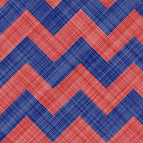Chevron Linen - Zigzag - Blue Red fabric by bonnie_phantasm on Spoonflower - custom fabric