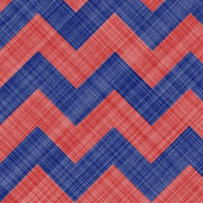 Chevron Linen - Zigzag - Blue Red