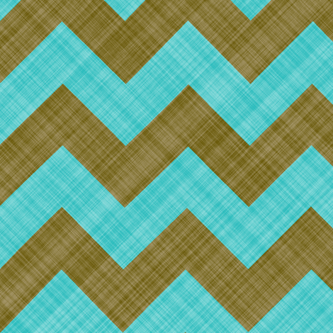 Chevron Linen - Zigzag - Brown Turquoise fabric by bonnie_phantasm on Spoonflower - custom fabric