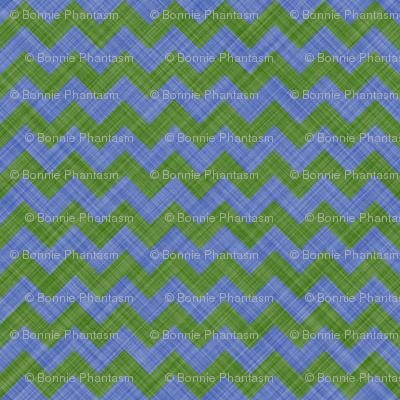 Chevron Linen - Zigzag - Green Blue