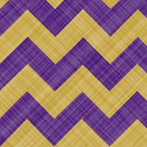 Chevron Linen - Zigzag - Purple Yellow
