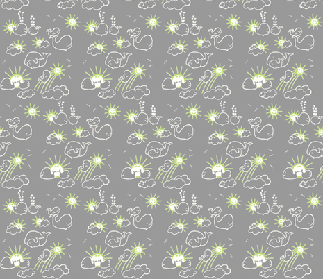 You Are My Sunshine Whales in Green fabric by kbexquisites on Spoonflower - custom fabric