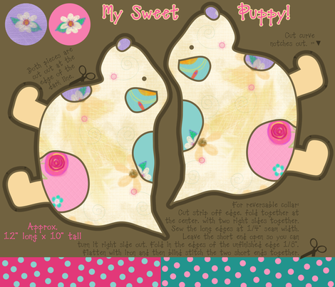 My Sweet Puppy, Pretty Flowers fabric by cherie on Spoonflower - custom fabric