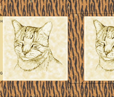 Tygr Tabby Cat Pillow fabric by eclectic_house on Spoonflower - custom fabric