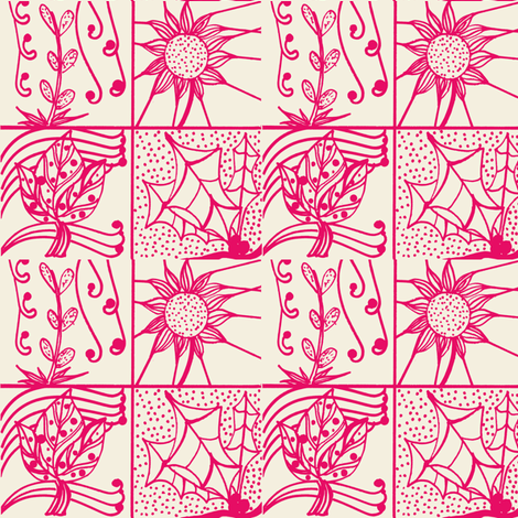 blk/wht flowers-ch fabric by pink_finch on Spoonflower - custom fabric