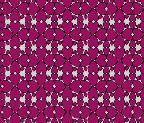 All Hearts Lace in Plum on Gray fabric by yomarie on Spoonflower - custom fabric
