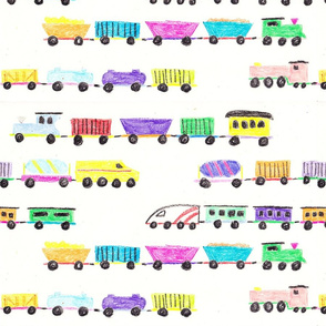 Crayon toy trains