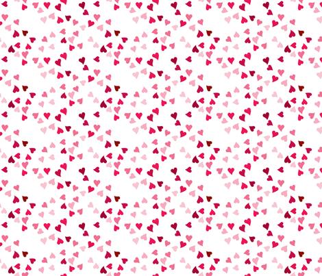 Tonal Pink Ditzy Hearts fabric by hopeandlouise on Spoonflower - custom fabric